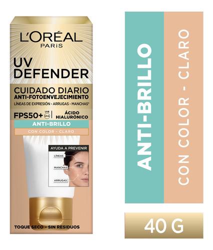 Imagen 1 de 10 de Crema Anti Brillo Color Claro Fps50 Loréal Paris Uv Defender