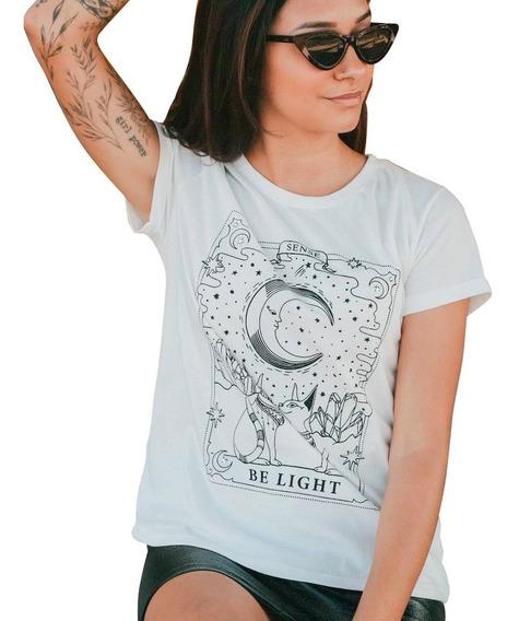 Blusa T-shirt Fem 100% Algodão 30/1 Carta Tarot Gatos