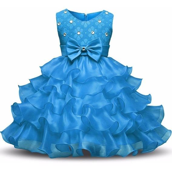 Vestido Infantil Bebêfesta 1a3 Aninho Aniversário Rosa Azul