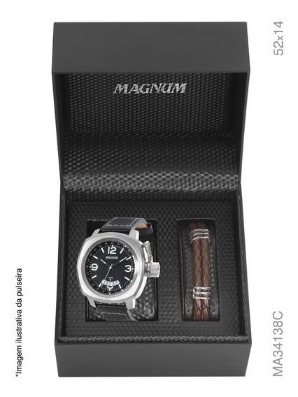 Relógio Magnum Kit Masculino Brinde Pulseira Couro Ma34138c