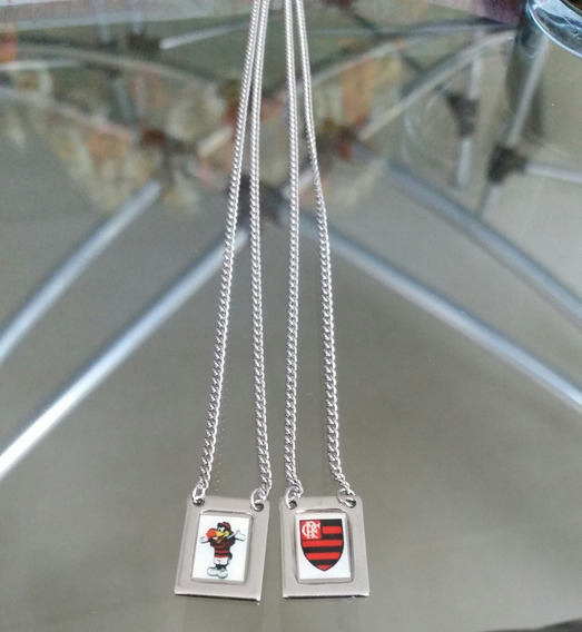 Escapulário Em Aço Inox Flamengo 65 Cm