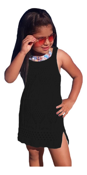 Saída Praia Vestido Infantil Menina Criança Canga Verão Lisa