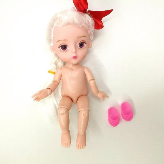 Kit 02 Mini Boneca Pequena Articulada Doll Nua