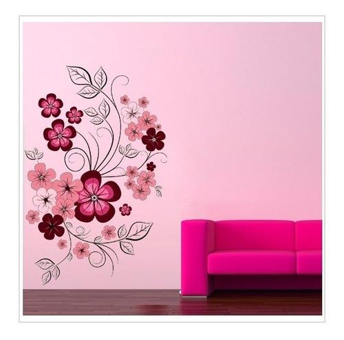Vinilos Decorativos Flores Fucsia Y Rosadas Tallos Finos