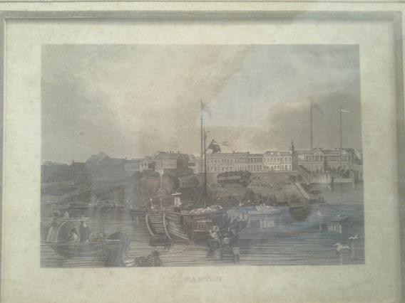 Antiguo Grabado Oriental China Chino Puerto Canton Barco
