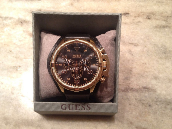 Relógio Guess Pulseira De Couro, Dourado Com Fundo Preto Top