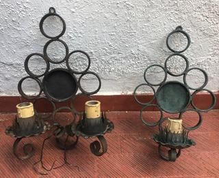 Apliques De Pared En Hierro Forma De Vela Vintage
