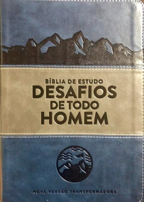 Bíblia De Estudo Desafios De Todo Homem Azul E Cinza Nvt