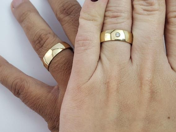 Par De Alianças Ouro 18k Anatômico Com Diamante + 2 Brindes