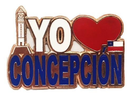 Imagen 1 de 1 de Magnético Yo Amo Concepción Chile Cobrizado (6843)