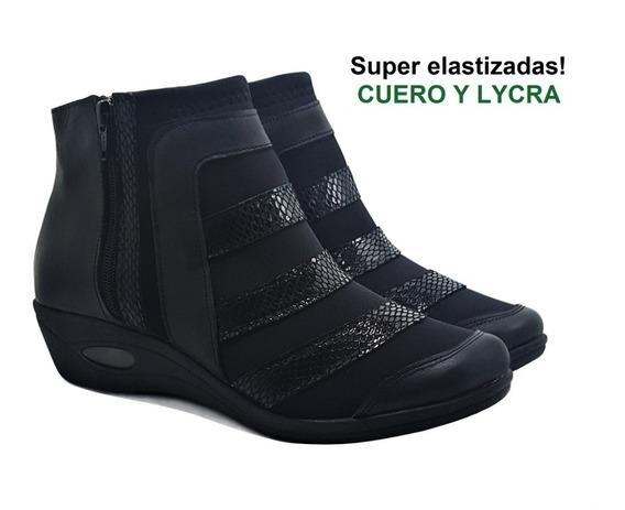 Botinetas Guaracha Cuero Negro Doble Cierre Gran Confort