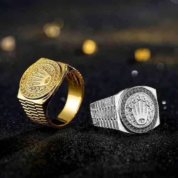Anel Banhado A Ouro 18k Gravado De Luxo Iced Para Fora Coroa