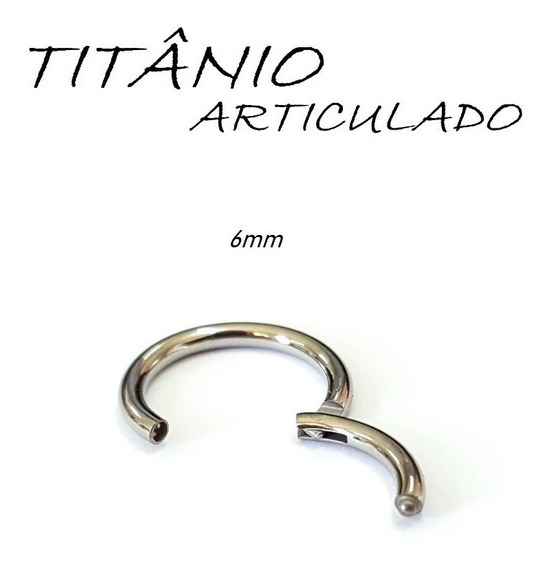 Piercing Argola Segmento Articulada 6mm Titânio Natural