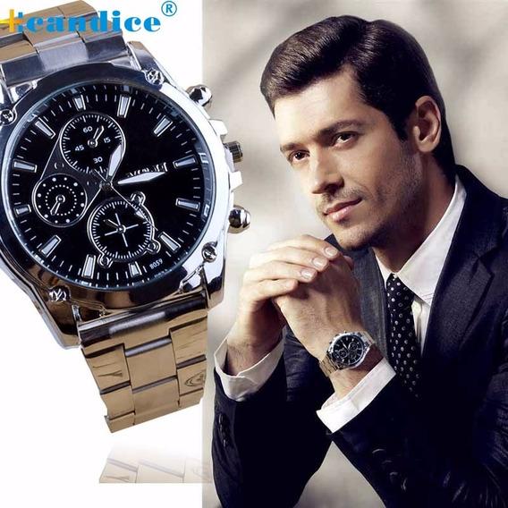 Relógio Luxo Masculino M&h Pulso Esporte Pulseira Inoxidável