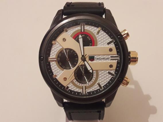 Relógio Masculino Preto Com Pulseira De Couro + Caixa