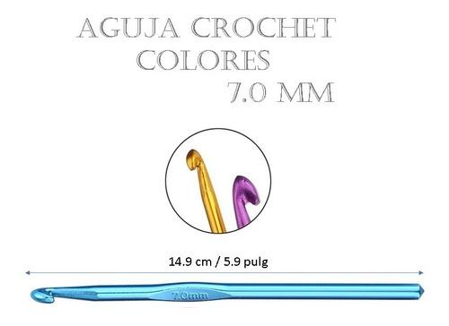 Aguja De Tejido Crochet Amigurumi Metálica Colores 7.0 Mm