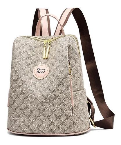 Imagen 1 de 2 de Mochila Mujer Moda Impermeable Antirrobo Backpack Beige