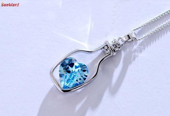 Colar C/ Pingente De Garrafa E Coração De Cristal Azul
