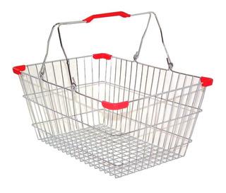 Canastilla Apilable D/ Mano Para Supermercado Cromo 5 Pzs
