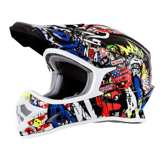 Capacete Oneal 3 Series Rancid Branco Motocross Trilha