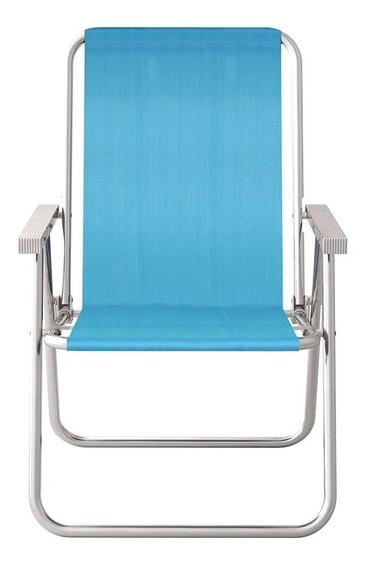Cadeira De Praia Alta Conforto Alumínio Cores Mor 120 Kg