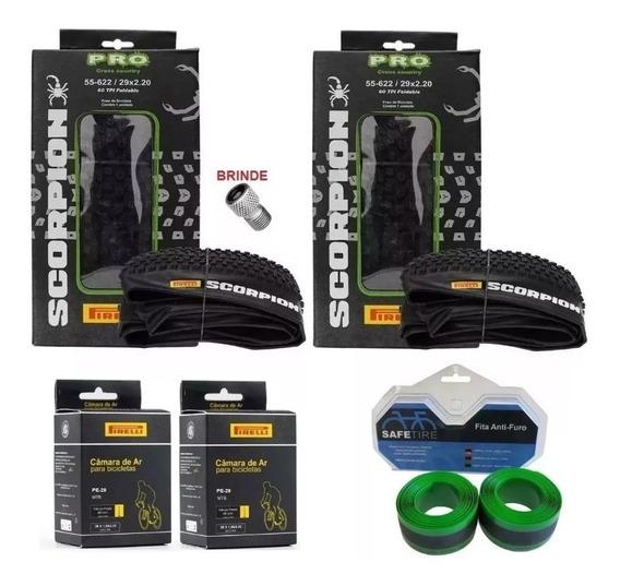 Par Pneus Pirelli Scorpion Pro 29 X 2.20 Kevlar Mtb + 2 Câmaras De Ar Pirelli + 1 Par Fita Anti Furo + Adaptador Brinde