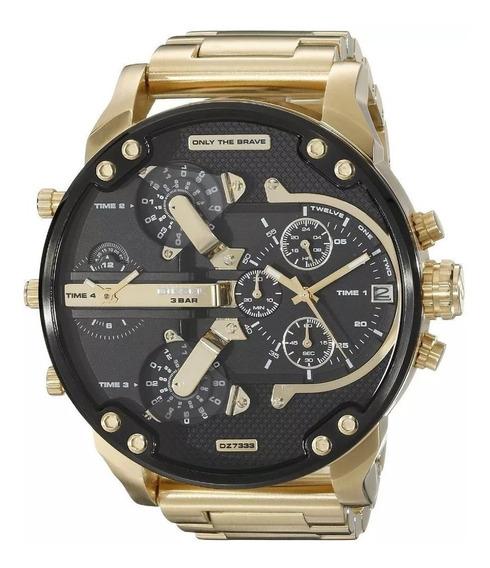 Relógio Diesel Dz7333 Original Dourado B. A Ouro 57mm Lindo