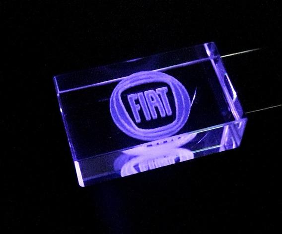 Pen Drive 16gb Cristal Led Fiat Roxo + Caixa Portátil
