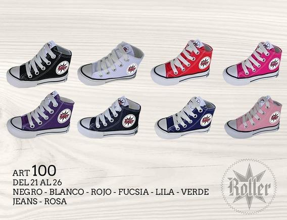 Botita Lona Acordonada Lisa Varios Colores Roller 17 Al 20