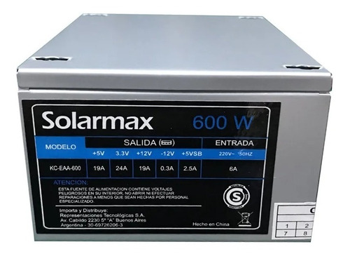 Fuente Solarmax Para Pc Slim 600w Con Cable Kc-eaa-600