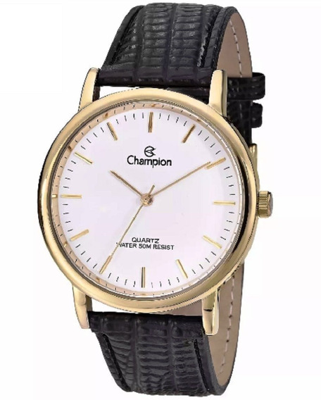 Relógio Feminino Champion Dourado Dourado E Couro Cn20042b
