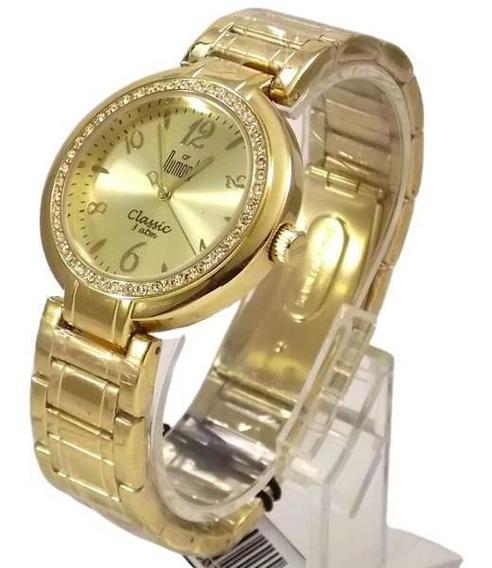Relógio Dumont Feminino Dourado Cristais Swarovski Sw85026x