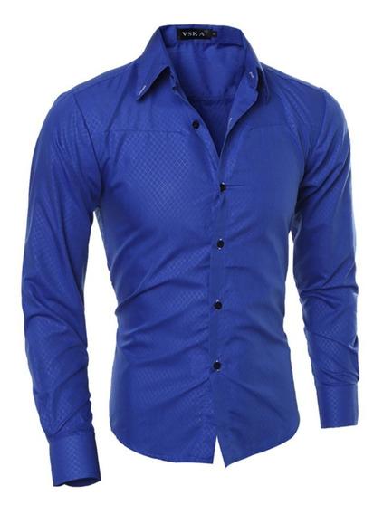 Camisa Casual Social Masculina Slim Fit Moda Azul Original