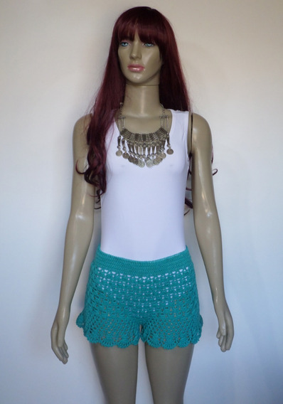 Short Crochê Andressa Moda Praia Verde Esmeralda Maria Dione