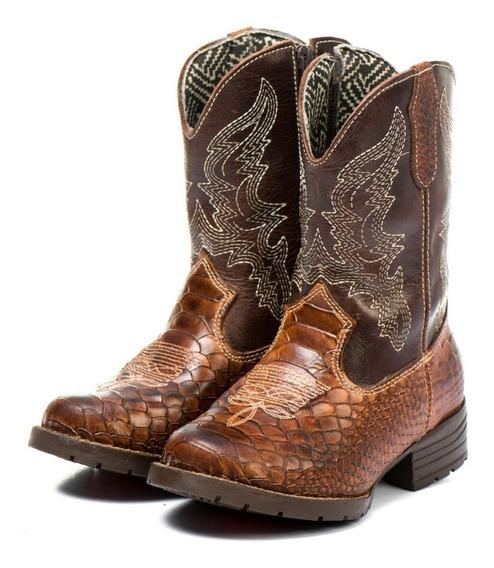 Bota Country Texana Infantil 100% Couro Menino Marrombarato