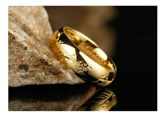 Anel Senhor Dos Aneis - Aliança Gravada E Banhada A Ouro