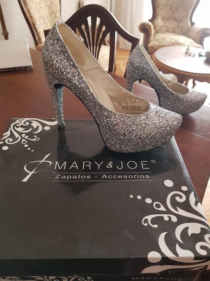 Stiletto Color Plata By Mary & Joe T40 - Estado Excelente!-
