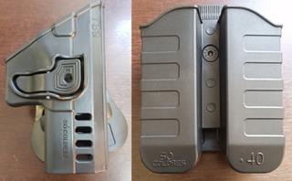Coldre + Porta Carregador Externo Polímero Taurus Ts9 Destro
