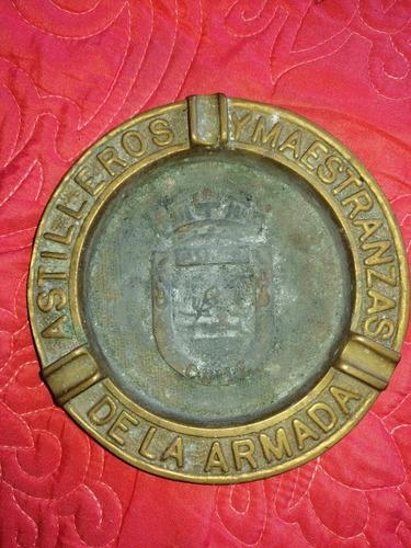 Antiguo Cenicero De Bronce De Asmar, Pesa Min 1/2kg