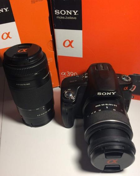 Camera Fotografica Sony Alpha A390 + Lente 18 / 55 Mm + Lente 75 / 300 Mm