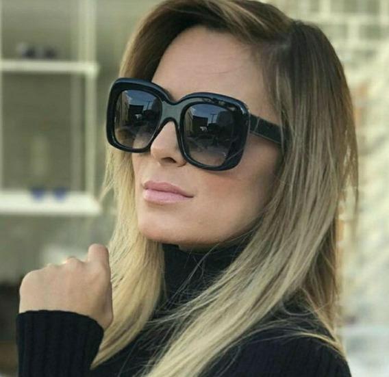 Óculos Chique De Sol Quadrado Grande Preto Moderno Fashion