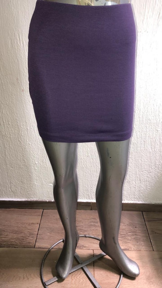 Falda De Punto Purpura