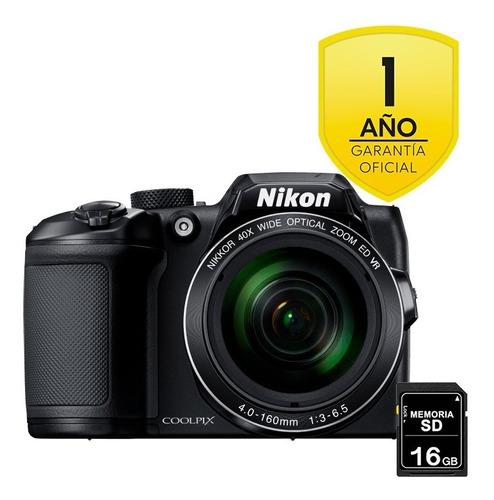 Imagen 1 de 6 de Cámara Nikon B500 Negra + Sd 16gb