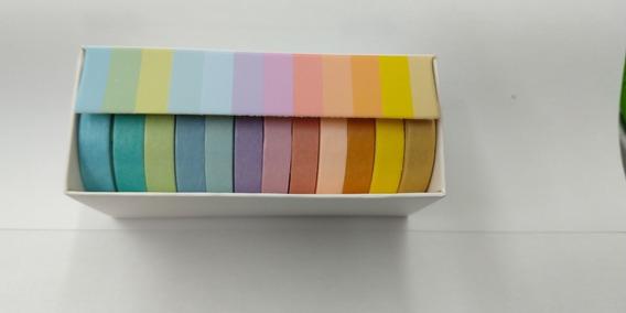 12 Fitas Washi Tape Adesiva Pastel Decorativa Artesanato