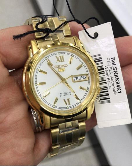 Relógio Seiko Clássico Automático Plaque Ouro Snkk84k1