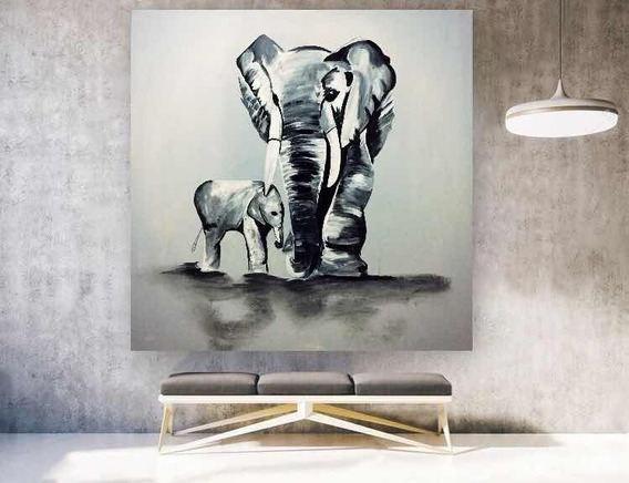 Cuadro De Elefantes Pintados A Mano Grandes Texturados Art