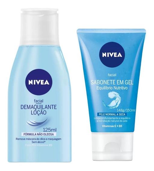 Cuidado Facial Nivea Loção Demaquilante + Sabonete Em Gel Equilíbrio Nutritivo Kit C/2