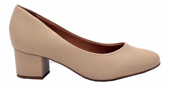 Zapato Taco Cuadrado Confort Massimo Chiesa Beige