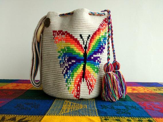 Mochila Crochet Mariposa   Grande   Mujer   Mi Artesano