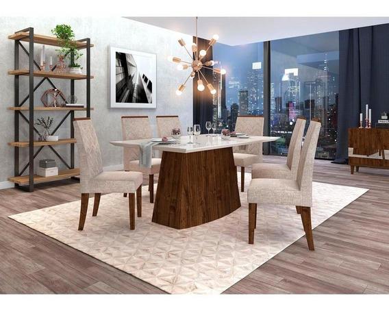Mesa De Jantar 6 Cadeiras Serena Com Tecidos Suede - Dj Móveis Sorella